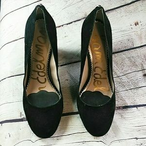 Sam Edleman Black Women Leather Suede High Heels 6